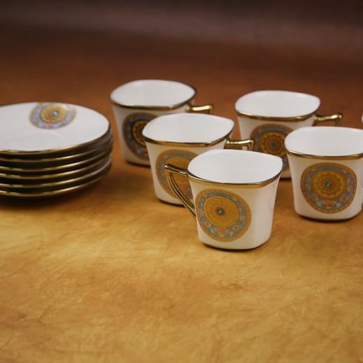 طقم فناجين قهوة من البورسلان 6 حبة مع طبق