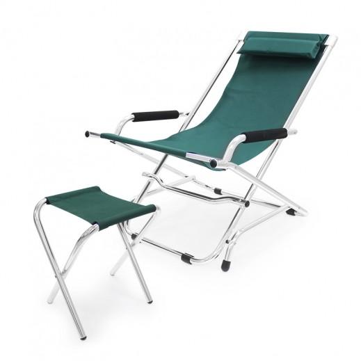 كرسي إتكاء قابل للطي مع مسند منفصل للقدمين