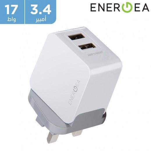 إنيرجي – 3.4 أمبير شاحن كهربائي ثنائي USB بتقنية AMP Smart مقبس إنجليزي بقوة 17 واط – أبيض