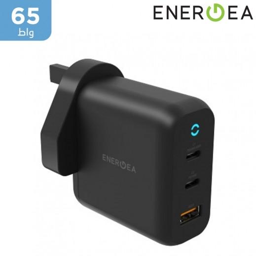إنيرجي – شاحن كهربائي AmpCharge ثنائي USB-C + منفذ USB-A مقبس إنجليزي بقوة 65 واط – أسود
