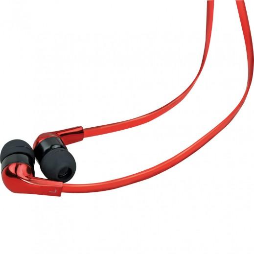 بروميت سماعات ستيريو كروم لامعة مع ميكروفون متعددة الوظائف - لون احمر