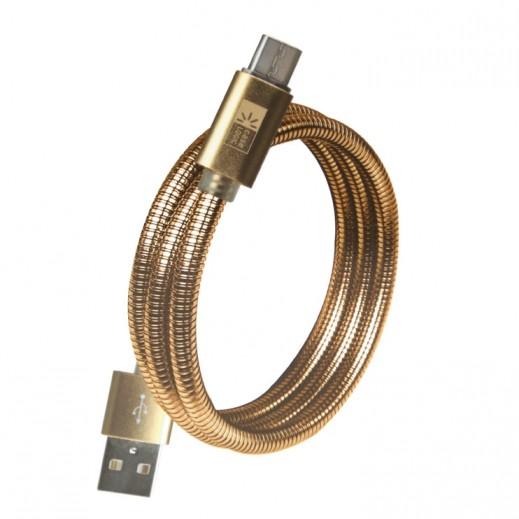 كيس لوجيك – كابل معدني مايكرو USB بطول 1 متر – ذهبي