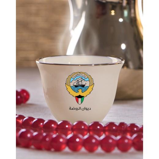 6 فناجين قهوة عربية تصميم شعار دولة الكويت - يتم التوصيل بواسطة Berwaz.com