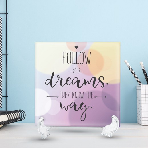 جملة على سيراميك تصميم Follow Your Dreams - CR003 - يتم التوصيل بواسطة Berwaz.com