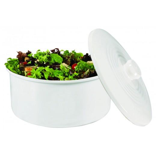 وعاء سيراميك لحفظ الطعام مع غطاء  - أبيض