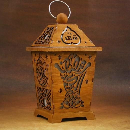 فانوس رمضان خشبي مضئ حجم صغير - تصميمات متعددة