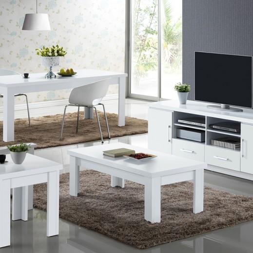 طاولة وسط بيضاء 120×60×44 سم  - يتم التوصيل بواسطة Qortuba Furniture