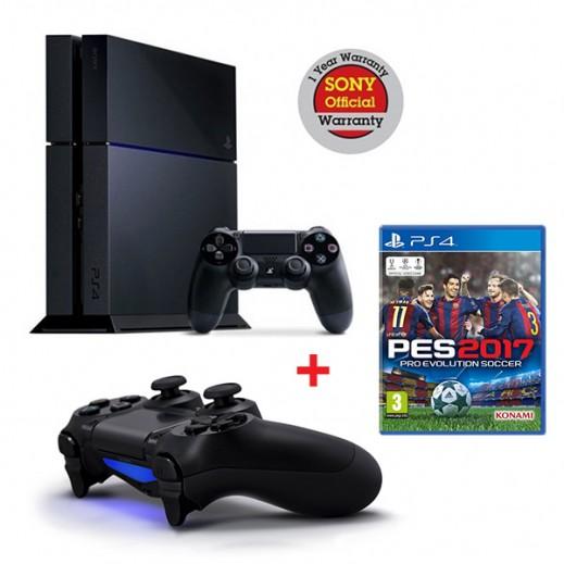 بلاي ستيشن 4 سعة 1TB نظام PAL + لعبة Pro Evolution Soccer 2017  لجهاز PS4 - نظام PAL (عربي) + يدة تحكم