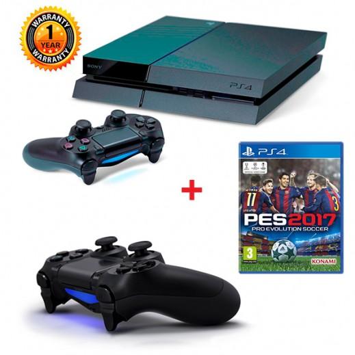 بلاي ستيشن 4 سعة 500GB نظام PAL + لعبة Pro Evolution Soccer 2017  لجهاز PS4 - نظام PAL (عربي) + يدة تحكم