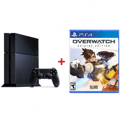جهاز بلاي ستيشن 4 نظام PAL سعة 1 تيرابايت + لعبة  Overwatch Origins Edition  نظام NTSC