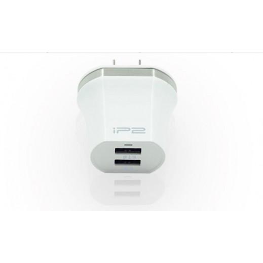 IP2 شاحن من مقبس الجدار 2 منافذ USB - ابيض