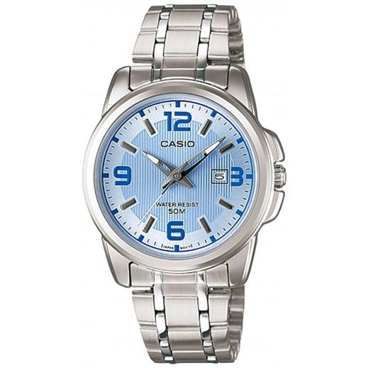 كاسيو - ساعة يد انتيسر عقارب للرجال بسوار استانلس واطار أزرق  - يتم التوصيل بواسطة Veerup General Trading