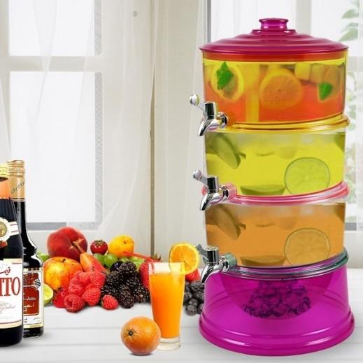 موزع المشروبات 3 طبقات مع خزان للثلج من الإكريليك متعدد الألوان
