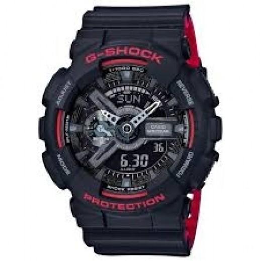 كاسيو - ساعة يد رقمي وتناظري G-SHOCK بحزام راتينج للرجال - أحمر وأسود  - يتم التوصيل بواسطة Veerup General Trading