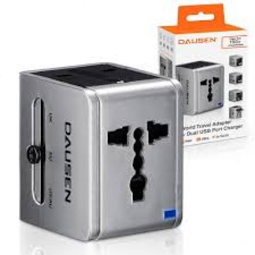 دوزين – موصل عالمي للسفر مع ثنائي USB للشحن