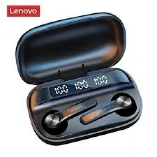 لينوفو - سماعات أذن لاسلكية بلوتوث Earbuds مع علبة الشحن - اسود