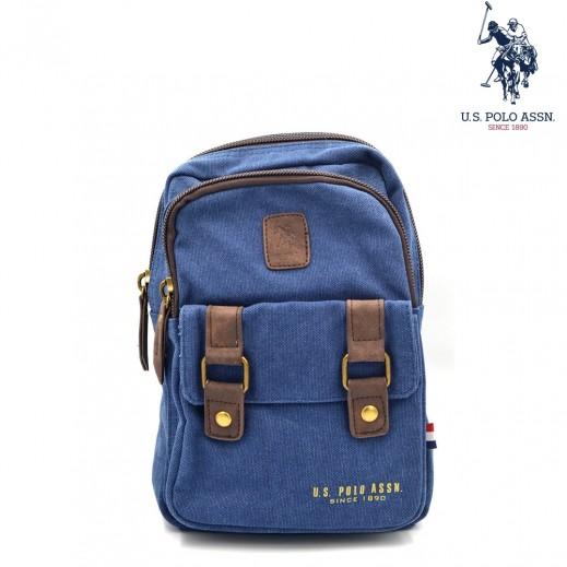 يو اس بولو - حقيبة ظهر قماش جينز 14 انش - ازرق