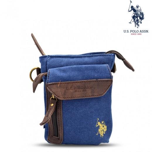 يو اس بولو اسن - حقيبة دنيم ناعمة 8 إنش - أزرق