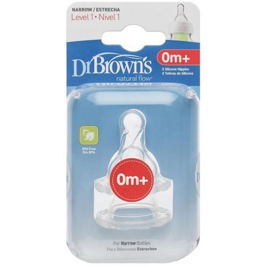 دكتور براونز – حلمة رضاعة ضيقة من السيليكون مستوى 1 (+0 أشهر) -2 حبة