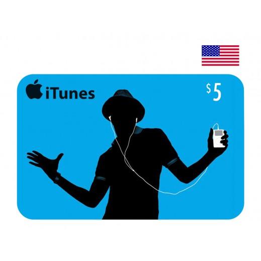 بطاقة أي تونز بقيمة 5 دولار حساب أمريكى  - توصيل عن طريق الإيميل