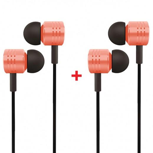 Buy 1 Get 1 Free In-Ear 3.5mm Jack Headset Handsfree Orange