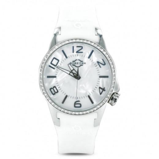 سباتسيو 24 – ساعة للسيدات بحزام مطاطي أبيض وهيكل فضى مُزين بالكريستال (L4D052/013W)