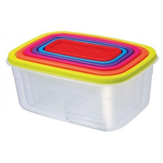 إيميرلاد - طقم أوعية بلاستيك مربعة  6 حبة