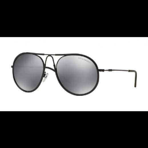 امبوريو أرماني – نظارة شمسية لكلا الجنسين عاكسة أسود/رمادي موديل EAR 2034 3014 6G مقاس 54