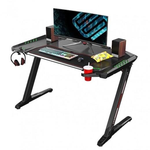 يوريكا – 51 إنش طاولة ألعاب الفيديو والكمبيوتر Z2 مع إضاءة ملونة – أسود - يتم التوصيل بواسطة شركة توصيل في يوم العمل التالي