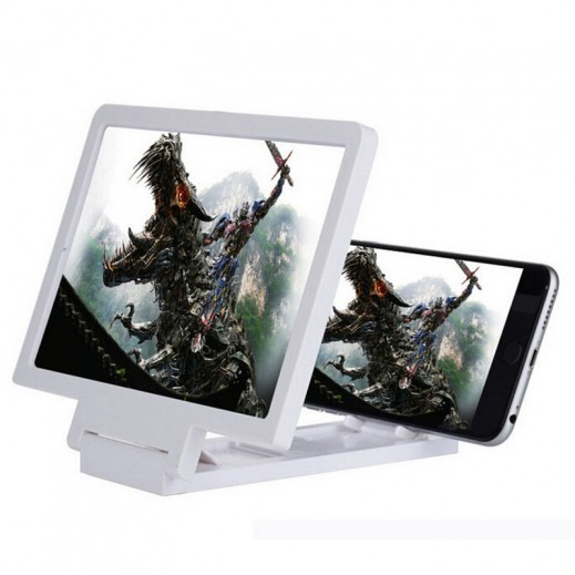 شاشة مكبرة ثلاثية الأبعاد للهواتف الذكية – أبيض