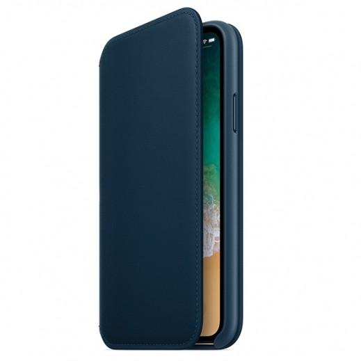 فوليو - غطاء جلد قابل للطي لآيفون X – أزرق داكن