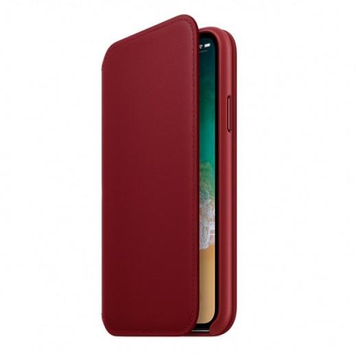 فوليو - غطاء جلد قابل للطي لآيفون X – أحمر