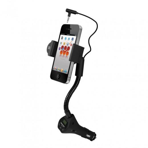 بروميت قاعدة تثبيت في السيارة للهاتف الذكي مع جهاز بث FM وتحدث حر مدمج
