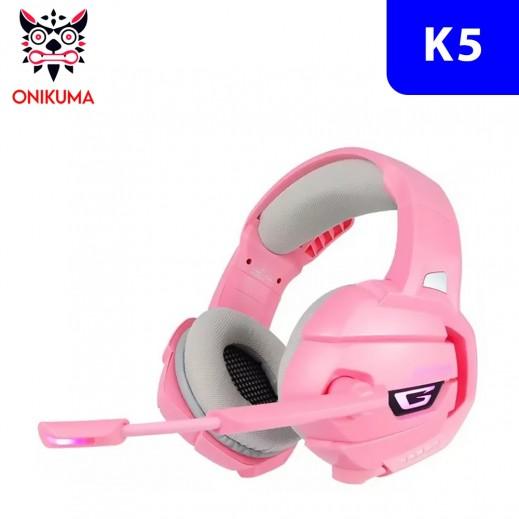 أونيكوما - سماعة رأس K5 سلكية لألعاب الفيديو - وردي