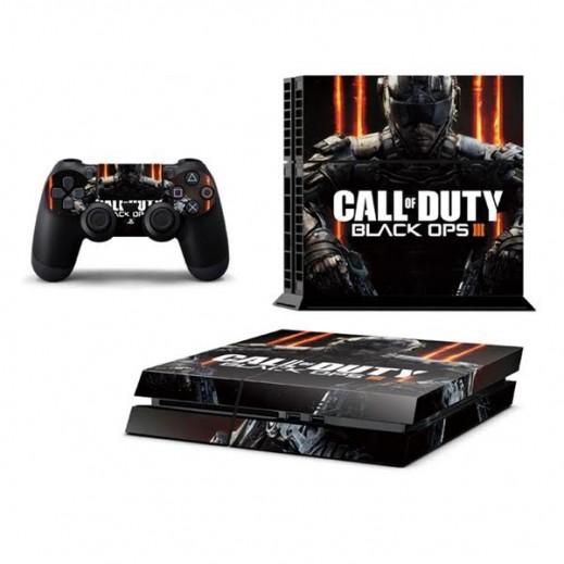 ستيكر CALL OF DUTY BLACK OPS3 لجهاز PS4  + عدد 2 ملصق ليدة التحكم M1