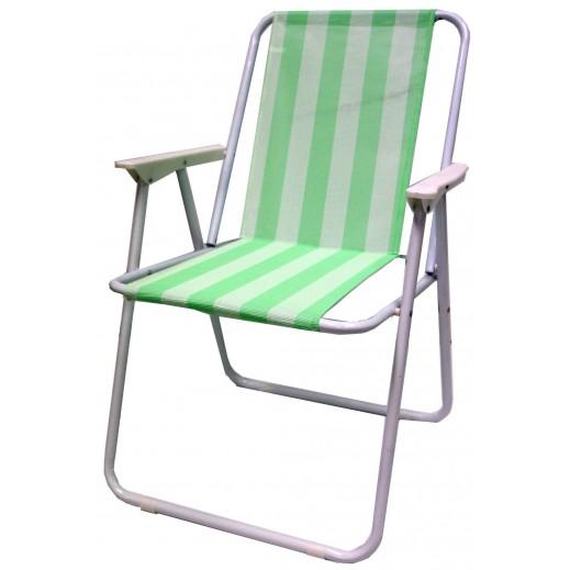 كرسي قابل للطي بقماش أخضر مع أبيض