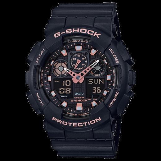 كاسيو - ساعة يد رقمي وتناظري G-SHOCK بحزام راتينج للرجال - أسود وذهبي وردي  - يتم التوصيل بواسطة Veerup General Trading