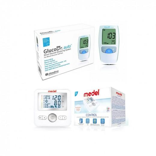جلوكو دكتور أوتو - جهاز فحص السكر في الدم مع 25 شريط فحص + جهاز قياس ضغط الدم MEDEL الإلكتروني