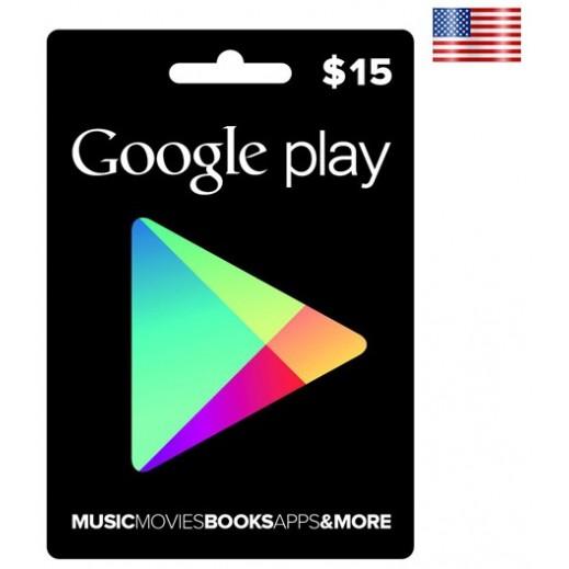 بطاقة فورية بقيمة 15 دولارGOOGLE PLAY للحسابات الأمريكية