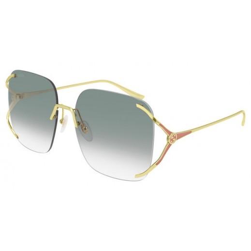 جوتشي - نظارة شمسية مربعة للسيدات - ذهبي وأخضر 60 مم  - يتم التوصيل بواسطة Waleed Optics