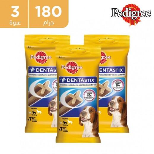 بيدجري  - طعام دينتاستيكس للكلاب متوسطة الأعمار 180جم 7 قطعة (3 عبوة)