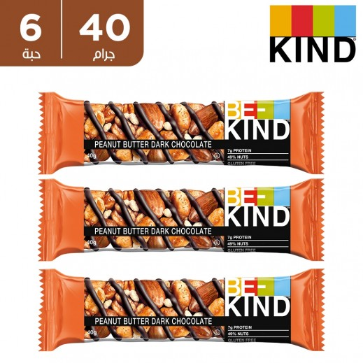 Be Kind Gluten Free Peanut Butter Dark Chocolate Nut Bar 6 x 40 g
