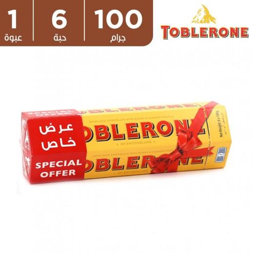 توبليرون شوكولاتة الحليب مع العسل واللوز 6 x 100 جم