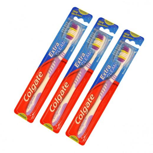 """كولجيت - فرشاة تنظيف الأسنان """" إكسترا كلين"""" حجم متوسط ( 3 حبات)"""