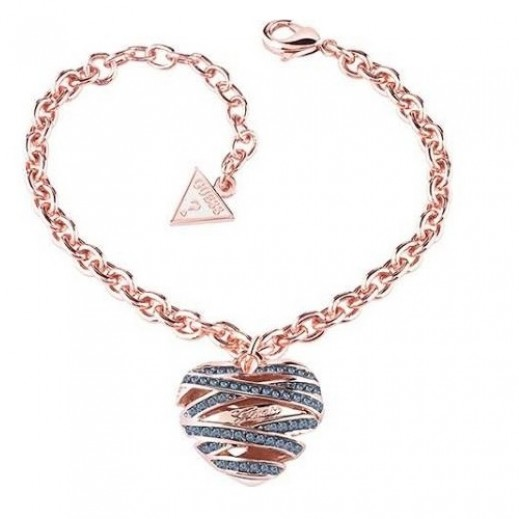 Guess Heart Shape Blue Crystal Rose Gold Large Bracelate - يتم التوصيل بواسطة Beidoun