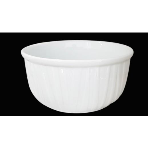 وعاء سيراميك دائري لتقديم الطعام - أبيض