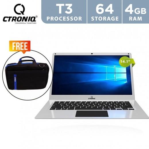 كترونيك - لابتوب N14X 14.1 بوصة 4 جيجا RAM بسعة 64 جيجا لوحة مفاتيح عربي / انجليزي - فضي