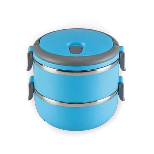 صندوق طعام 2 طبقة ستانليس ستيل 1.4 لتر - أزرق