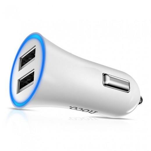 هوكو – شاحن سيارة ثنائي USB بقوة 2.4 أمبير – أبيض