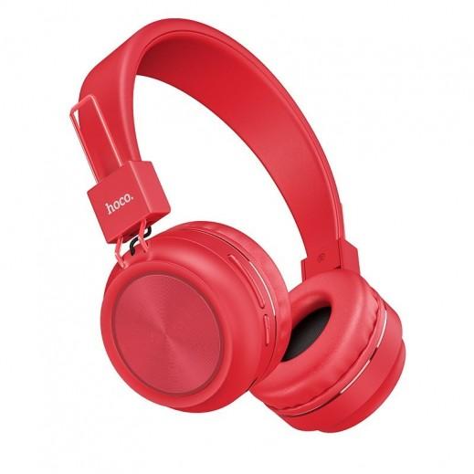 هوكو – W25 سماعة رأس لاسلكية مع ميكرفون - احمر